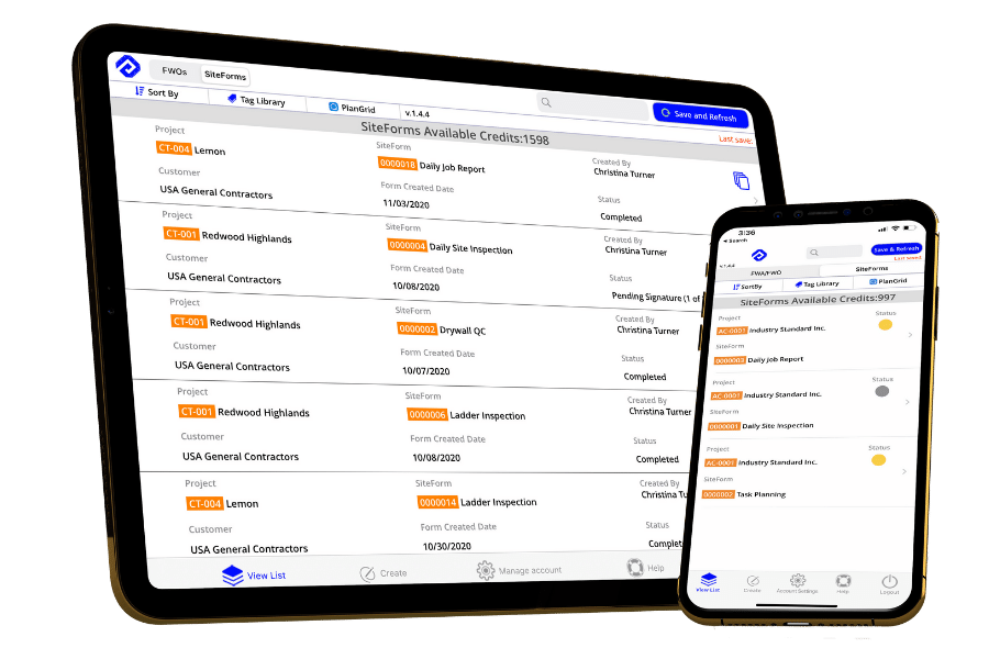 SiteForms on iPad and iPhone